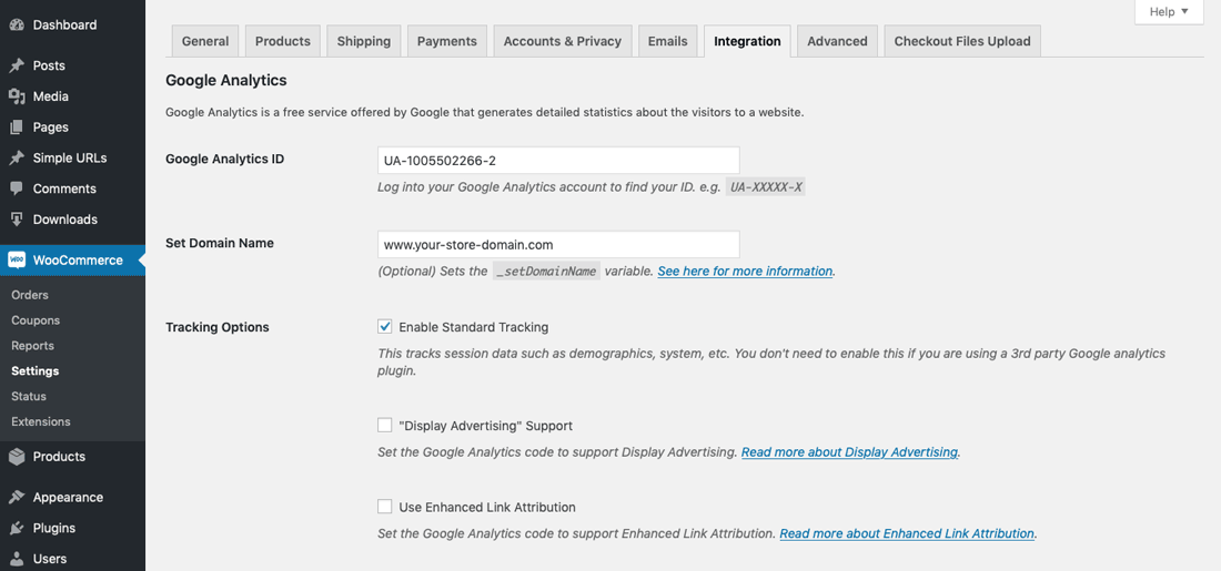 Configure WooCommerce Google_Analytics Integration step 01