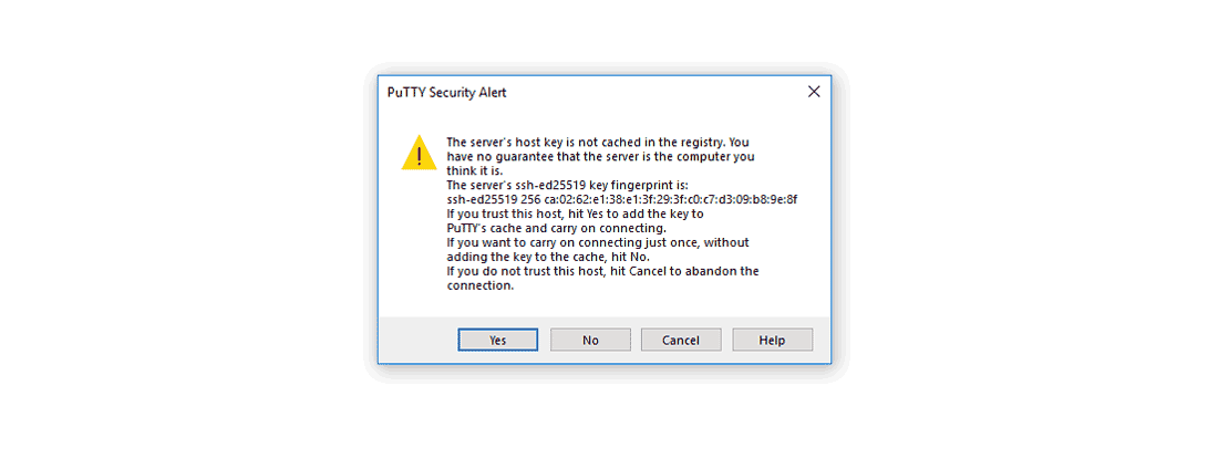Confirm trust the server first connect PuTTY