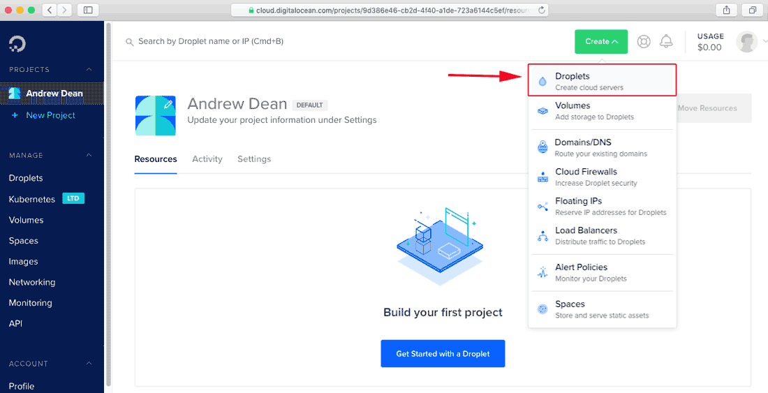 Create a Ubuntu droplet from digitalocean control Panel