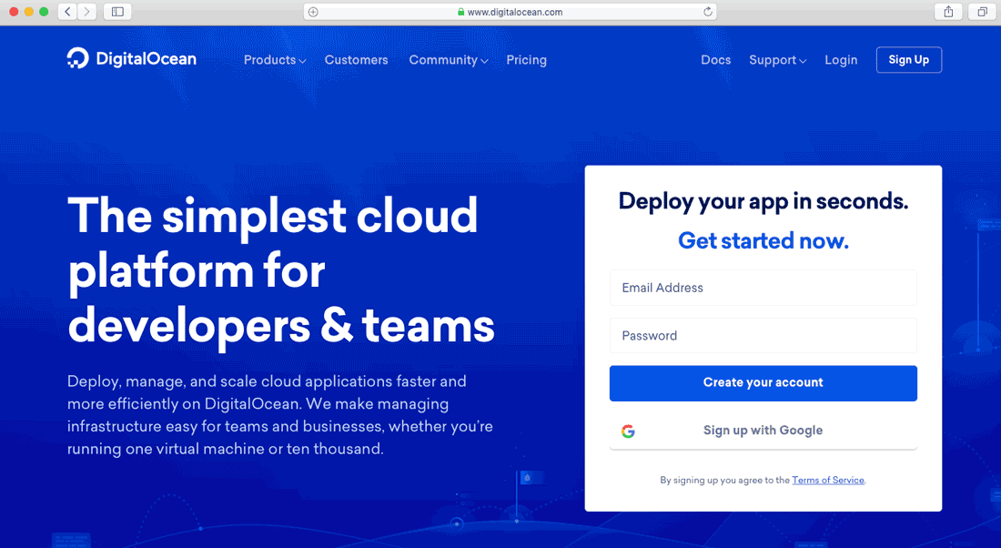Create an account for digitalocean