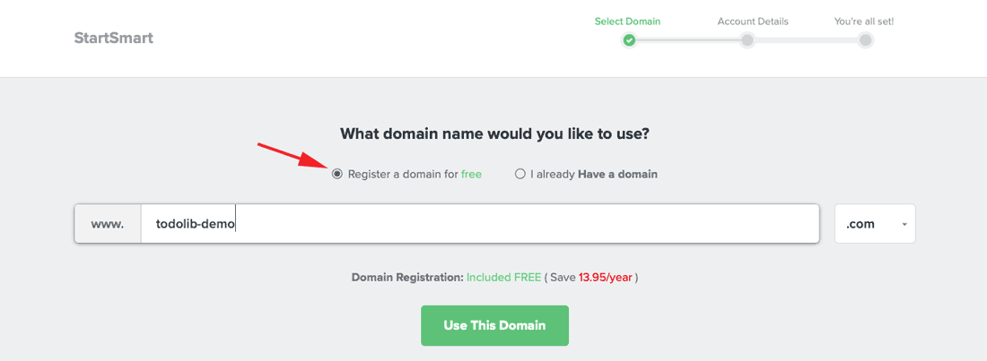 get a free domain from Fastcomet