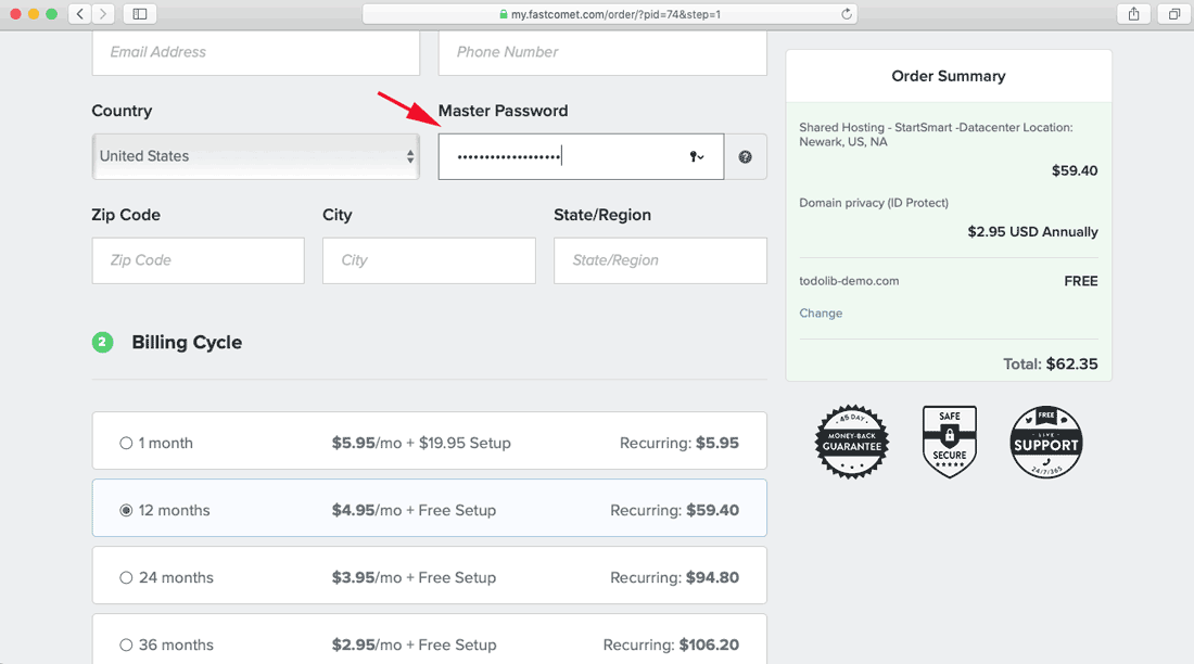 set your Master Password and select your Billing Cycle