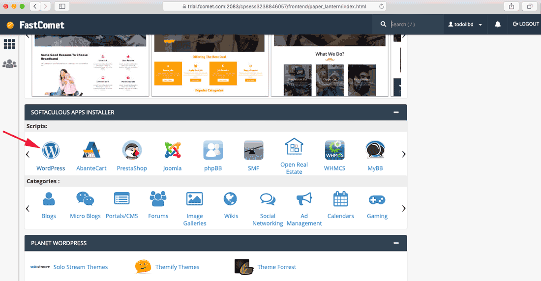 select WordPress One-Click Installer on cPanel