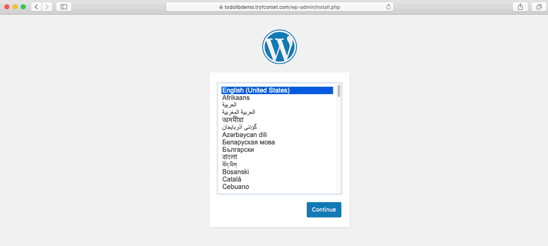 Choose WordPress language