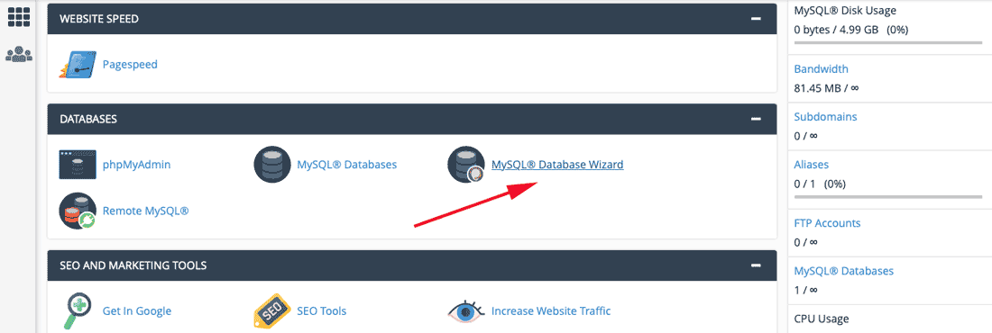 open MySQL Database Wizard