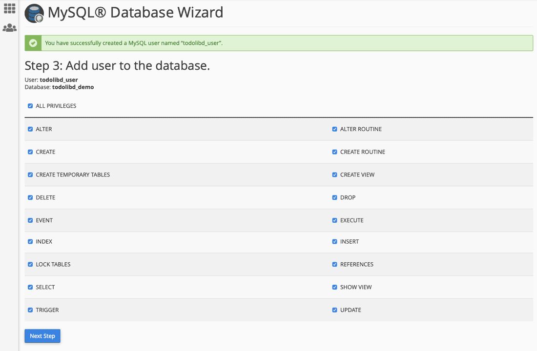 MySQL Database Wizard Step 3: Add User to the Database