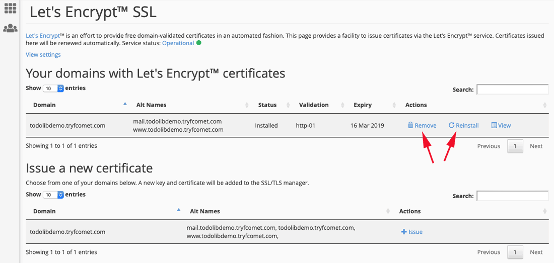 Remove, Reinstall and View Let's Encrypt™ certificate