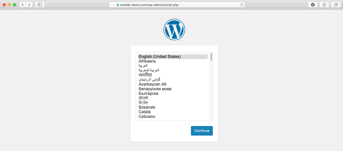 One click WordPress installation choose language