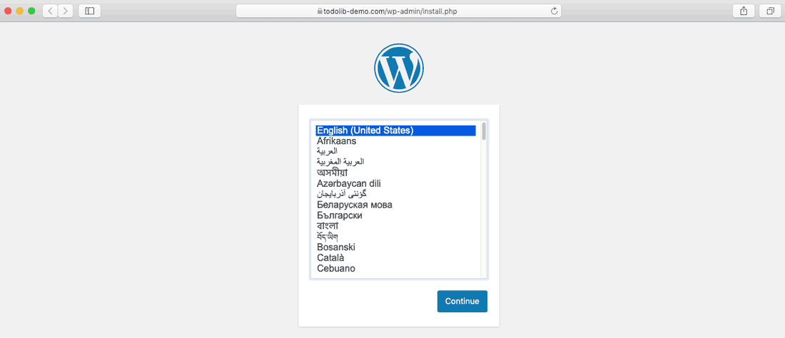 Ubuntu server install WordPress select language