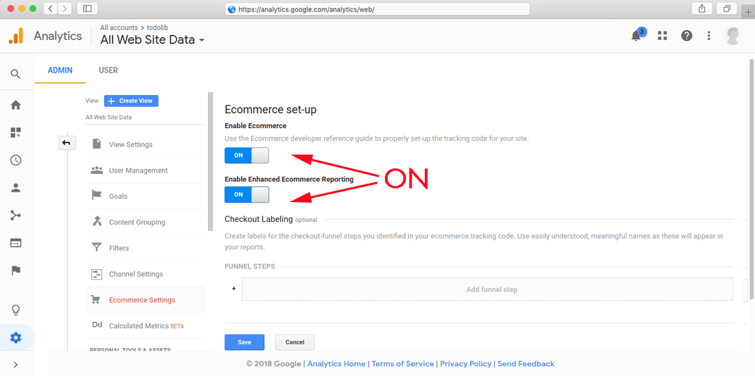 google analytics setup enable ecommerce tracking step 02
