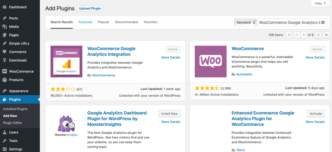 install WooCommerce Google Analytics Integration plugin