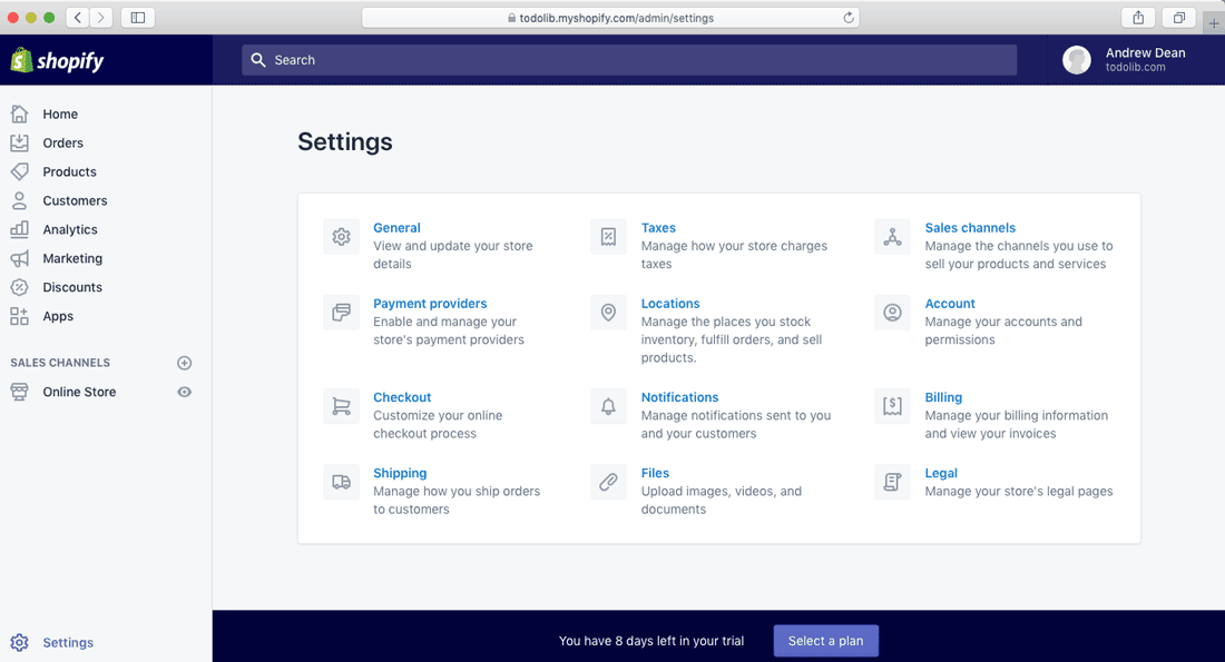 shopify store setup setting panel